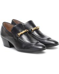 JOSEPH Leather Loafer Pumps - Black