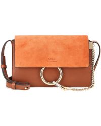 Chloé Faye Small Suede And Leather Shoulder Bag - Brown