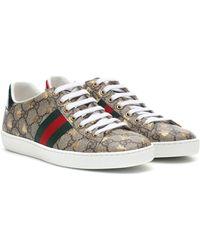 Gucci Zapatillas Ace de lona y piel - Marrón
