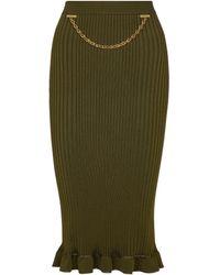 Givenchy Midirock aus Rippstrick - Grün