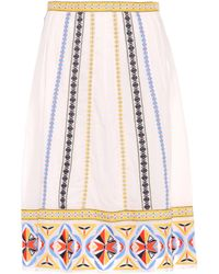 Tory Burch - Adriana Embroidered Cotton Skirt - Lyst