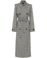 Gabriela Hearst Lorna Checked Wool Trench Coat - Grey