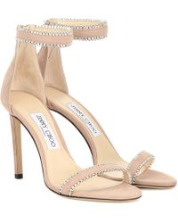 Jimmy Choo Dochas 100 Crystal-embellished Suede Sandals - Multicolor