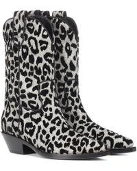 Dolce & Gabbana Botines cowboy de leopardo - Negro