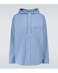 Balenciaga Camisa de algodón con capucha - Azul
