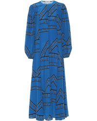 Ganni Cloverdale Printed Washed-silk Maxi Dress Bright Blue