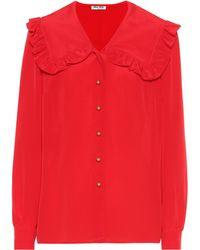 Miu Miu Blusa de crepé de seda de China - Rojo