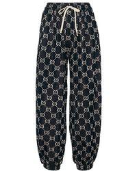 Gucci Pantaloni sportivi in cotone - Blu