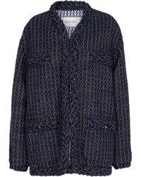 Valentino Veste Optical V en tweed de laine mélangée - Noir