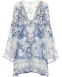 Camilla Robe imprimée en soie à ornements - Bleu