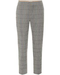 Chloé Checked Stretch-wool Trousers - Grey