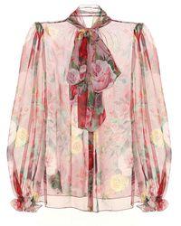 Dolce & Gabbana Camicia a stampa floreale in seta - Rosa
