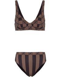 Fendi Bikini con logo - Marrón