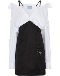 Prada Minikleid aus Re-Nylon und Baumwolle - Weiß