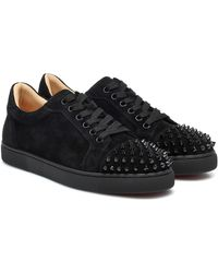 Christian Louboutin Baskets Vieira Spikes en daim à ornements - Noir