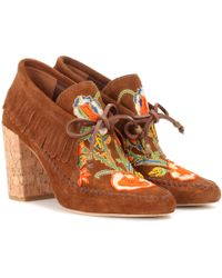 Tory Burch - Huntington Fringe Suede Booties - Lyst