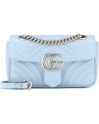 Gucci Sac à épaule GG Marmont petite taille - Bleu