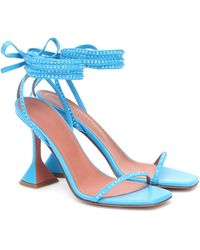 AMINA MUADDI Sandales Vita en cuir à ornements - Bleu