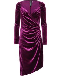 Norma Kamali Asymmetric Velvet Dress - Purple