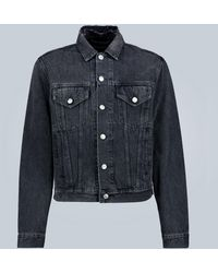 Balenciaga Slim-fit Logo Denim Jacket - Black