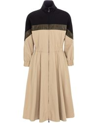 Moncler Zipped Midi Dress - Natural