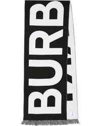 Burberry Écharpe en laine à logo - Noir