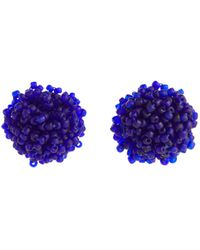 Dries Van Noten Aretes con abalorios - Azul