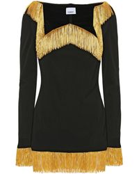 Burberry Fringed Jersey Top - Black