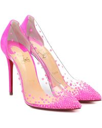Christian Louboutin Degrastrass 105 Swarovski Crystal-embellished Pvc And Suede Pumps - Pink