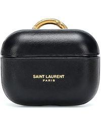 Saint Laurent Étui pour AirPods Pro en cuir - Noir