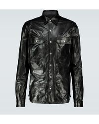 Rick Owens Hemdjacke aus Leder - Schwarz