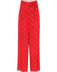 Valentino Bedruckte Hose aus Seide - Rot