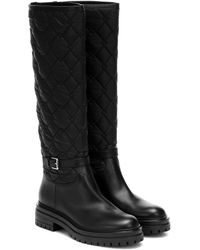 Gianvito Rossi Leather-trimmed Knee-high Boots - Black
