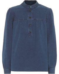 A.P.C. Loula Cotton Chambray Blouse - Blue