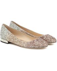Jimmy Choo Jessie Glitter Ballet Flats - Metallic