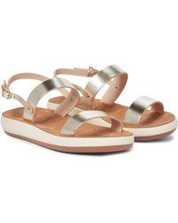 Ancient Greek Sandals Clio Comfort Leather Sandals - Metallic
