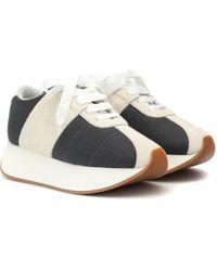 Marni Suede Panel Flatform Sneakers - Gray