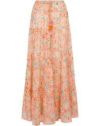 Poupette Exclusive To Mytheresa – Triny Printed Cotton Maxi Skirt - Orange