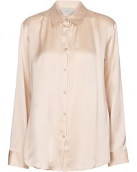 Asceno London Silk Satin Pajama Shirt - Natural