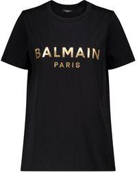 Balmain - Logo Cotton Jersey T-shirt - Lyst