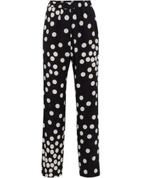 Valentino Polka-dot Silk Straight Pants - Black