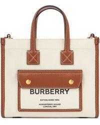 Burberry Tote Pocket de lona con piel - Blanco