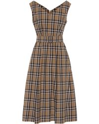 Max Mara Zurca Checked Twill Dress - Brown