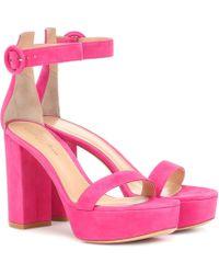 Gianvito Rossi Poppy 85 Suede Platform Sandals - Multicolour