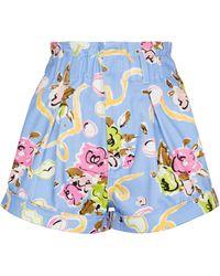 Alessandra Rich Bedruckte Shorts aus Baumwolle - Blau