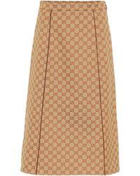 Gucci GG Cotton-blend Canvas Skirt - Natural
