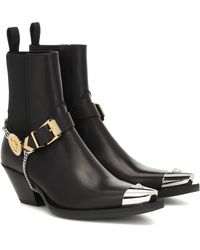 Versace Leather Cowboy Boots - Black