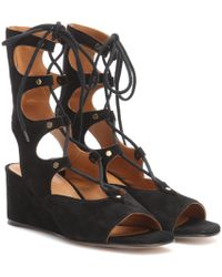 Chloé Black Foster Lace-up Wedge Sandals