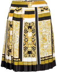 Versace Minigonna a stampa Barocco Mosaic in seta - Giallo