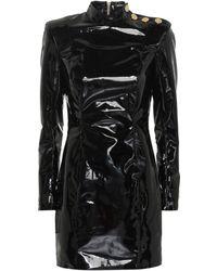 Balmain - Faux Patent Leather Minidress - Lyst
